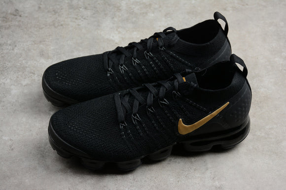 Nike Air Vapormax Flyknit 2.0 Black Gold Men Shoes Sneakers 942842-009