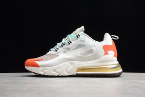 Nike Air Max 270 React Light Beige Chalk Platinum Tint White Team Orange Men Women Shoes Sneakers AO4971-200