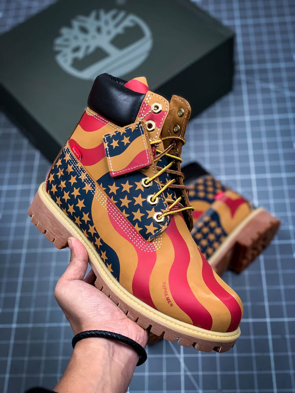 TIMBERLAND MEN X Supreme USA Flag Multicolors 6 inch Premium Boots Waterproof 76690366