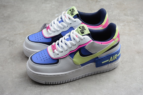 Nike Air Force 1 '07 AF1 07 Low Shadow White Sapphire Barely Volt Women Sneakers Shoes Size 35-40 / 4.5-8.5 CJ1641-100