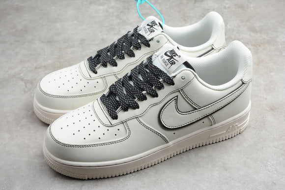 Nike Air Force 1 '07 AF1 Low 07 Leather Cream White Beige Black Men Women Sneakers Shoes 315122-808