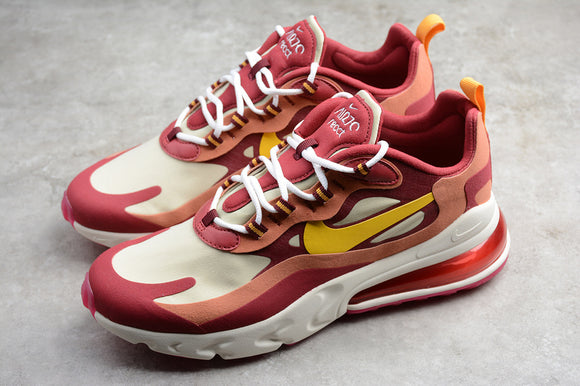 Nike Air Max 270 React Noble Red Dark Sulfur Team Gold Dusty Peach Men Shoes Sneakers AO4971-601