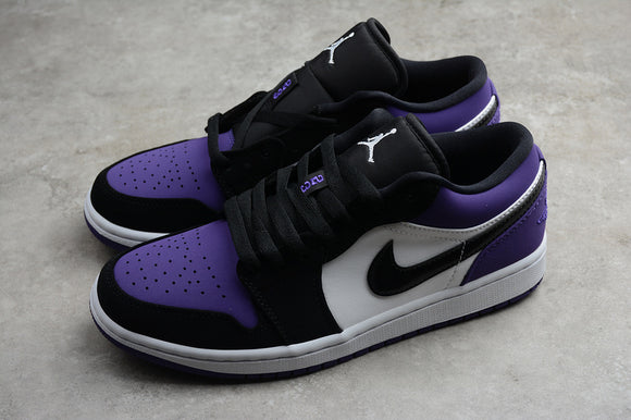 Nike AIR JORDAN 1 Low White Black Court Purple Men Shoes Sneakers Size 40-45 / 7-11 553558-125