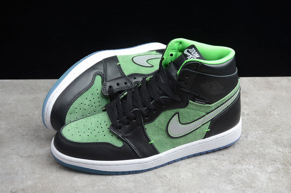 Nike Air JORDAN 1 High Zoom Fir Black Flourescent Green Tomatillo Rage Men Women Shoes Sneakers CK6637-300 CK6637-002