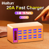 iHaitun 100W 20A USB Charger LED Display Fast Multi Dock Station Power Desktop Quick Adapter For iPhone 11 Pro Max Mobile Phone - 88digital