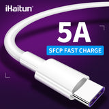 iHaitun 5A Type C USB C Cable For Huawei P30 Pro Mate 20 Cables 3.0 Super Charge Wire Cord Quick Charger For Honor V20 Xiaomi 10 - 88digital