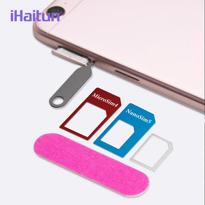iHaitun 5in1 SIM Card Adapter For iPhone 4 5 Mobile Phone Accessories Pin SIM Card NANO Micro Transform Suits For iPhone XS MAX - 88digital