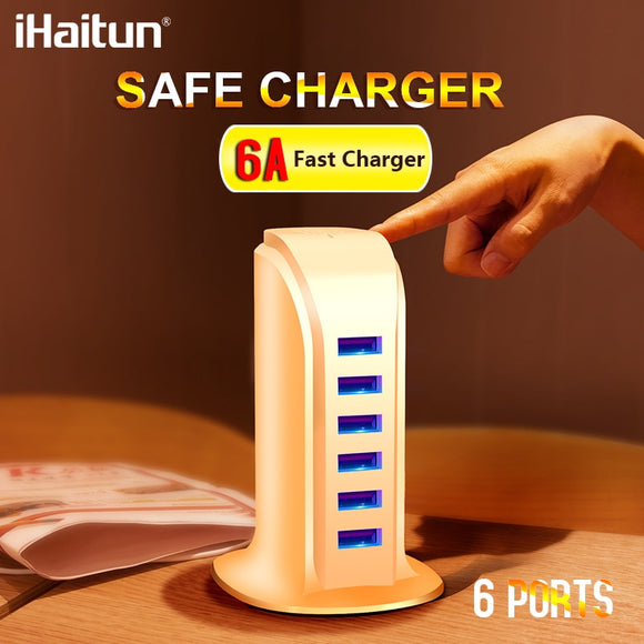 iHaitun 6 Port 6A 30W USB Charger Quick Charge 3.0 Smart Mobile Phone Tablet Charger For iPhone X 7 Samsung S10 S9 Desktop Wall - 88digital