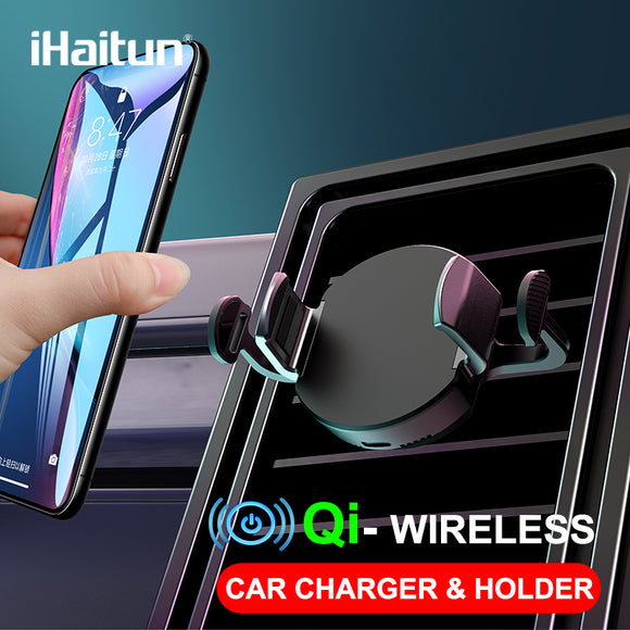 iHaitun Car Qi Wireless Charger For iPhone XS MAX X 8 Air Vent Mount Mobile Phone Holder For Samsung Galaxy S10 S9 Charge Stand - 88digital