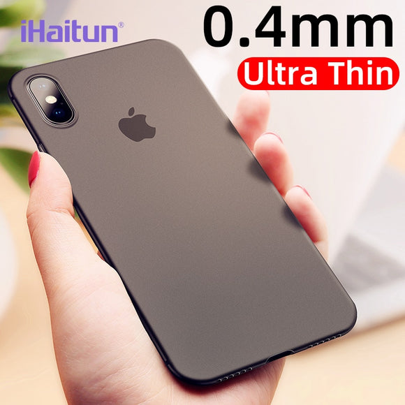 iHaitun Luxury 0.4mm Phone Case For iPhone XS MAX XR X Cases Ultra Thin Transparent Back Slim Cover For iPhone X 10 8 7 Plus Ful - 88digital