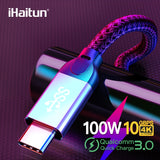 iHaitun Luxury 100W Type C to Type C Cable 5A QC 3.0 4.0 USB 3.1 Gen2 10Gbps Speed Fast Charger Quick 4K HD Cable Type-C USB PD - 88digital
