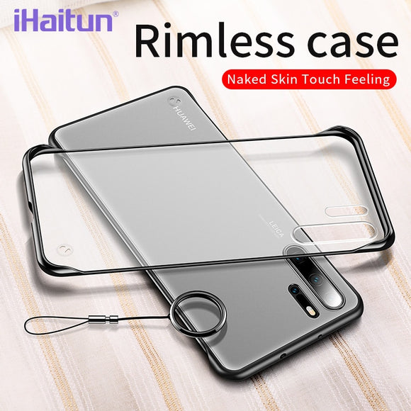 iHaitun Luxury Borderless Phone Case For Huawei P30 Pro P20 Cases Slim Transparent Back Cover For Huawei P20 Mate 20 Ring Straps - 88digital