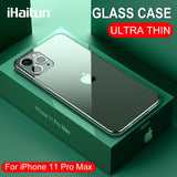 iHaitun Luxury Glass Case For iPhone 11 Pro Max Cases Ultra Thin Transparent Glass Cover For iPhone XS MAX XR X 10 7 8 Soft Edge - 88digital