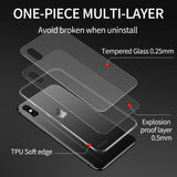 iHaitun Luxury Glass Case For iPhone X XR XS MAX Cases Ultra Thin Transparent Back Cover Case For iPhone 11 Pro 7 8 10 Soft Edge - 88digital
