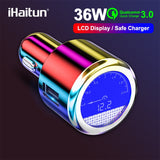 iHaitun Luxury LCD 36W USB Car Charger For Samsung Quick Charge 3.0 QC QC3.0 Fast USB For iPhone Xiaomi Redmi K20 Note 7 OnePlus - 88digital