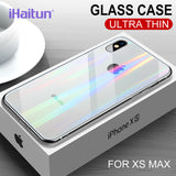 iHaitun Luxury Laser Glass Case For iPhone 11 Pro Max XS MAX XR X Cases Transparent Back Glass Cover For iPhone 10 7 8 Plus Soft - 88digital