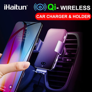 iHaitun Qi Wireless Car Charger For iPhone XS MAX Samsung S10 Intelligent Infrared Air Vent Mount Mobile Phone Holder Stand 10W - 88digital