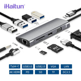 iHaitun USB HUB C To Multi USB 3.0 4K HDMI Adapter Dock For Macbook Pro Type C PD VGA SD TF DC3.5 For Huawei 30 Samsung Port 3.1 - 88digital