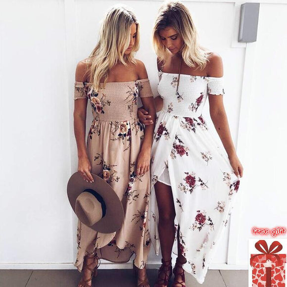 maxi dress robe plus size for big floral ladies summer beach vestidos largos woman off shoulder robe sexy flower backless 5XL - 88digital