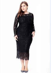 women black/white/red plus size lace dress autumn Elegant 6XL large size bodycon Sexy midi dress party Big Size dresses vestidos - 88digital
