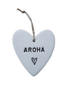 Aroha or Whanau Ceramic swing heart