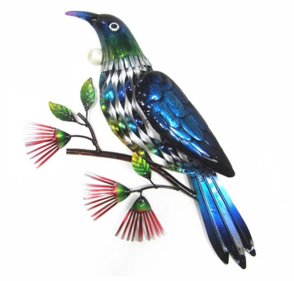 Tui on a Branch Metal Wall Hanging