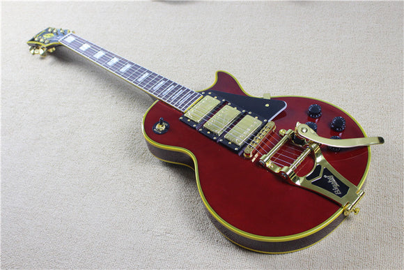 LP Custom Bigsby Electric Guitar Reproduction Wine Red