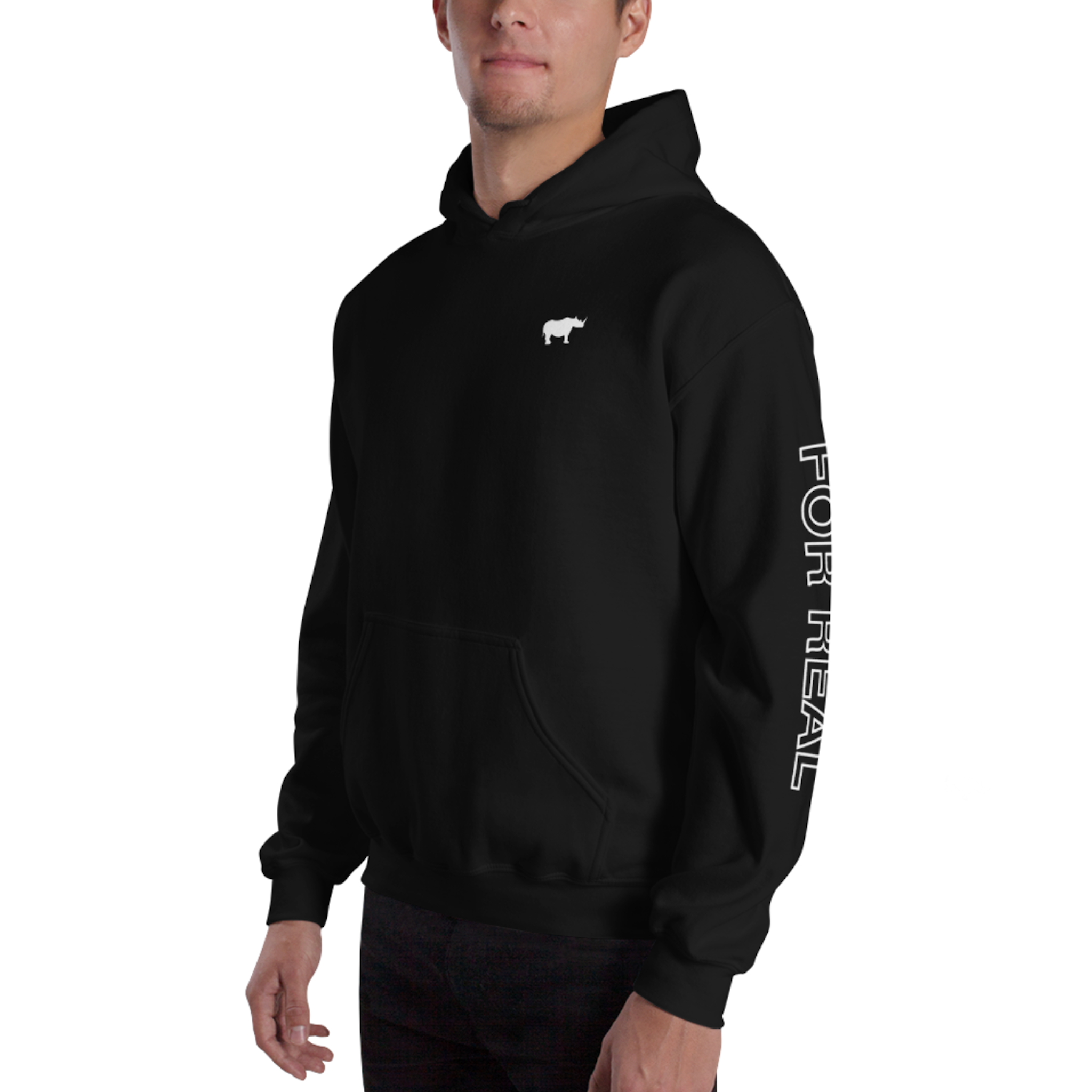 Side hoodie black frontleft man