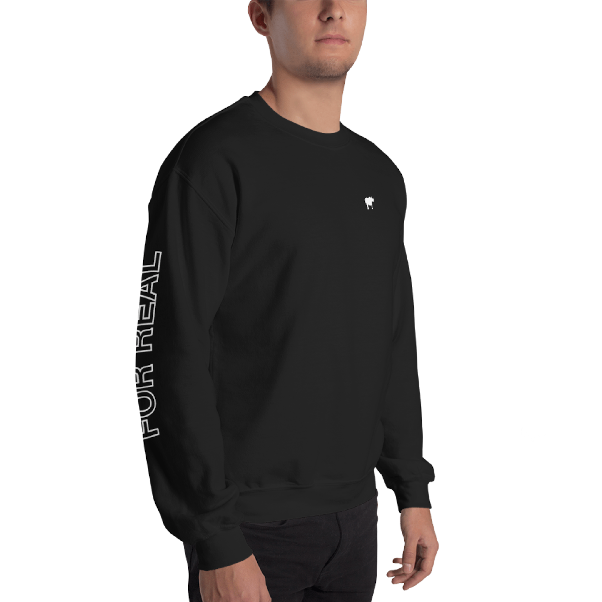 Side sweater black frontright man