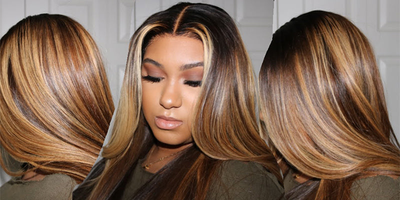 curlyme hair ombre color hair highlight human hair wigs, honey blonde highlight hair lace front wigs, highlight bob wigs, kinky curly highlight wigs for black women