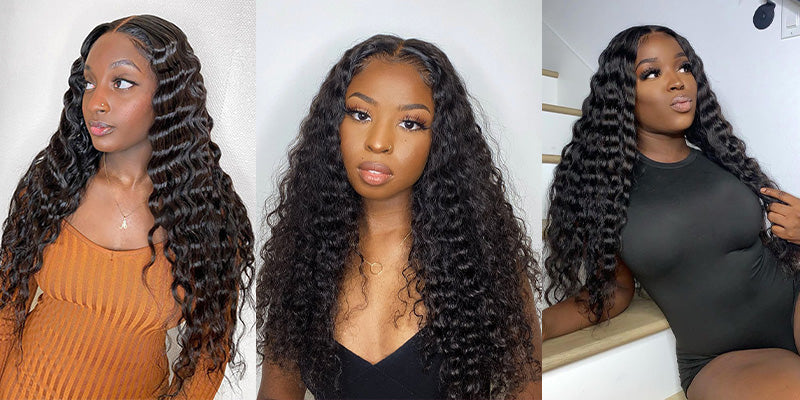 curlyme hair deep wave weave human hair wigs, deep wave hair lace front wigs