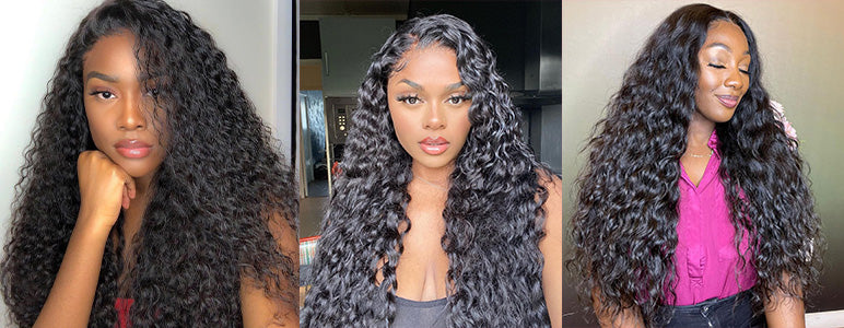 curlyme hair water wave human hair wigs, water wave lace front wigs