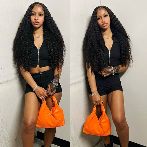 CurlyMe Straight Machine Made Human Hair Wigs With Bangs,  Affordable Curly Glueless Wig Natural Black