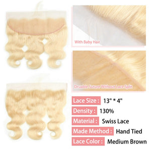 CurlyMe Body Wave #613 Blonde Virgin Human Hair 13x4 Lace Frontal