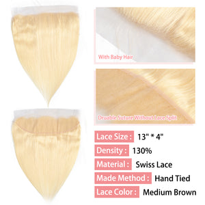 CurlyMe Straight #613 Blonde Virgin Human Hair 13x4 Lace Frontal