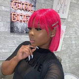 CurlyMe short cut Pink bob wig Straight Human Hair None Lace Wigs With Bangs Curly Glueless