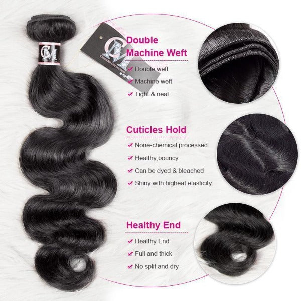 Body wave human hair 3 bundles with 4x4/5x5 lace closure-6