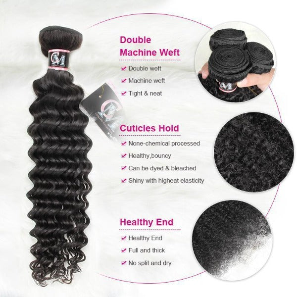 Deep wave human hair 3 bundles with 4x4/5x5 lace closure-5