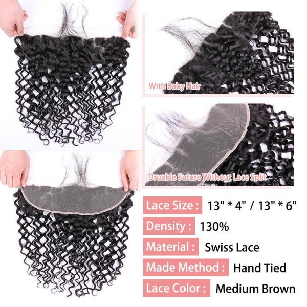 Water wave human hair 3 bundles with 13x4/13x6 lace frontal-4