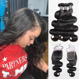 Body wave human hair 3 bundles with 4x4/5x5 lace closure-1