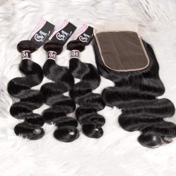Body wave human hair 3 bundles with 4x4/5x5 lace closure-2
