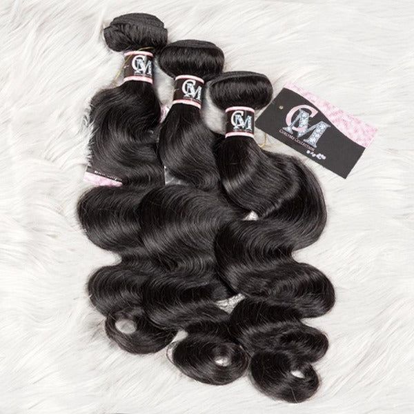 Body wave human hair 3 bundles with 4x4/5x5 lace closure-4