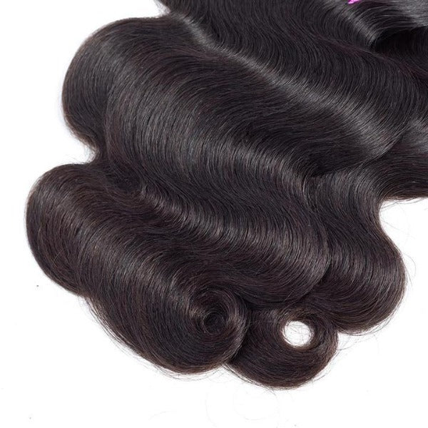 Body wave human hair 3 bundles with 4x4/5x5 lace closure-5