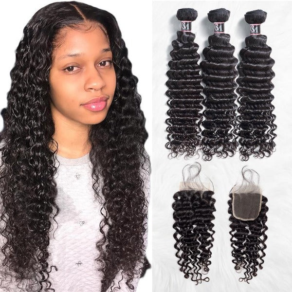 Deep wave human hair 3 bundles with 4x4/5x5 lace closure-1