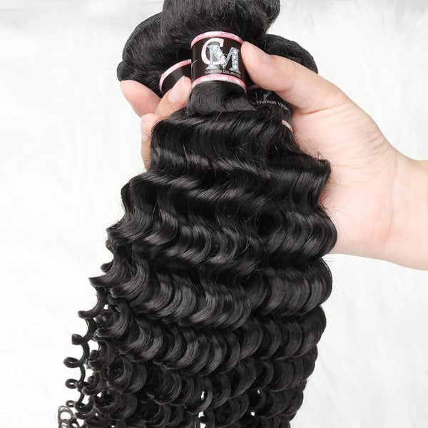 Deep wave human hair 3 bundles with 4x4/5x5 lace closure-4