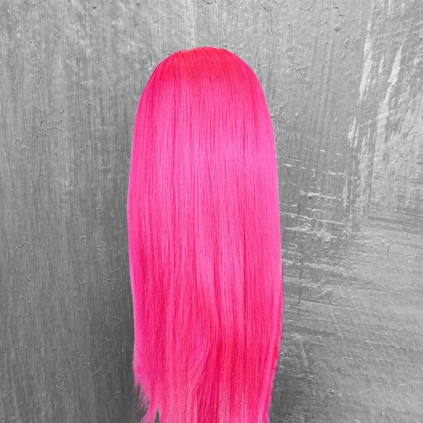 CurlyMe Pink Color Straight Virgin Human Hair Lace Front Wig