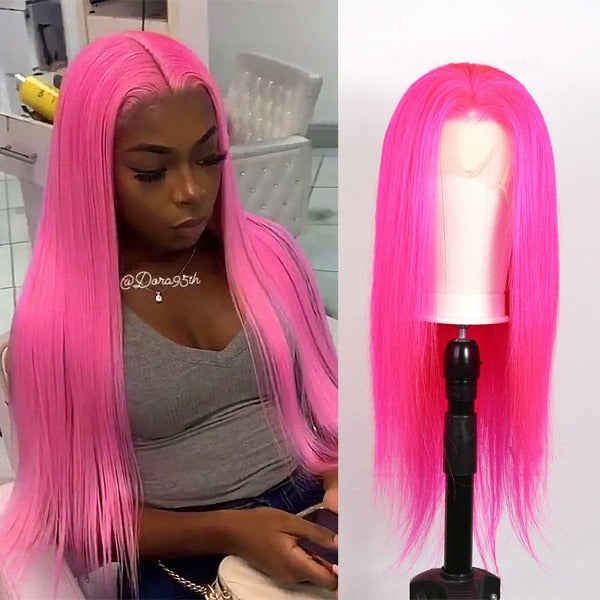 CurlyMe Pink Color Straight Virgin Human Hair Pre Plucked Hairline Lace Front Wig