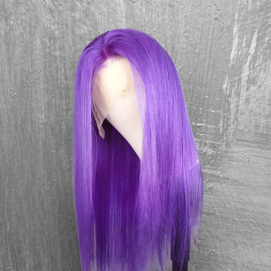 CurlyMe Purple Color Straight Virgin Human Hair Pre Plucked Hairline Lace Front Wig