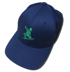 ORS Crispy Cap Navy. Fitted Flexfit Wooly 6-Panel Cap by Yupong, with green embroidery. Available in more colors.