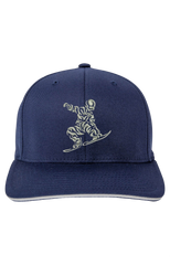 Navy Blue Fitted Flexfit Wooly 6-Panel Cap by Yupong, with silver embroidery.
